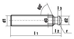 DIN 6332 Резьбовой штифт с шаровой упорной цапфой