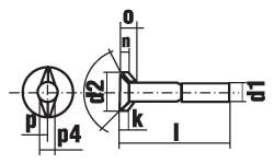 DIN 25195 Болт с потайной головкой и двумя усами, для ж/д транспорта