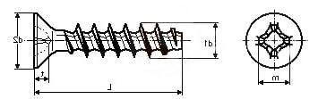 Саморез по термопластам с потайной головкой и крестообразным шлицем PH