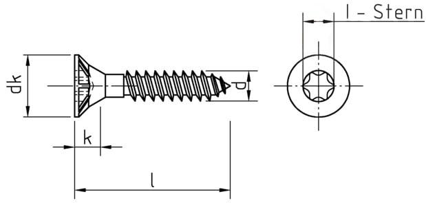 Саморез для ДСП, с потайной головкой и зенкующими ребрами, шлиц Torx, полная резьба