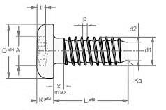 Саморез по легким металлам и дуропластам с цилиндрической скругленной головкой, щлиц TORX