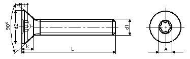 Винт ISO 14581 с потайной головкой и шлицем Torx