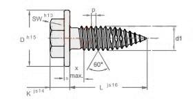 Саморез с метрической резьбой для тонких листов металла, шестигранная головка с буртиком