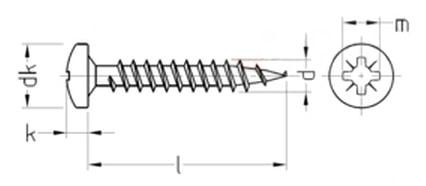 Саморез универсальный с цилидрической скругленной головкой, шлиц Pz