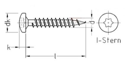 Саморез универсальный с цилидрической скругленной головкой, шлиц Torx