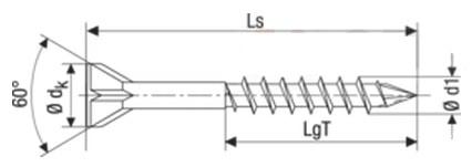 Саморез Spax для деревянных полов, с потайной головкой и зенкующими ребрами, шлиц Torx T10, четырехганный конец CUT
