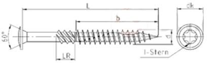 Саморез конструкционный для дерева, тарельчатая головка со щлицем Torx