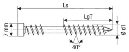 Саморез Spax-D, с цилиндрической головкой и зенкующими ребрами, щлиц T-Star plus, четырехгранный конец CUT