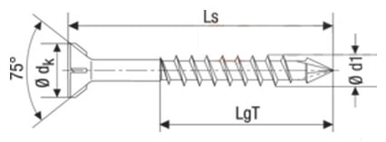 Саморез Spax-M, с потайной головкой и зенкующими ребрами, щлиц T-Star plus, неполная резьба, четырехгранный конец CUT