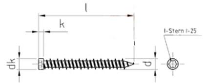 Саморез для крепления деревянных оконных рам, с уменьшенной цилиндрической головкой, шлиц Torx T-25
