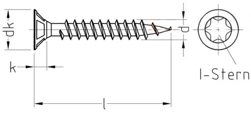 Саморез универсальный, с потайной головкой и зенкующими ребрами, шлиц Torx, полная резьба