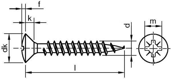Саморез для ДСП, с полупотайной головкой, шлиц Pz