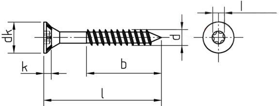 Саморез для ДСП, с потайной головкой и зенкующими ребрами, шлиц Torx, неполная резьба