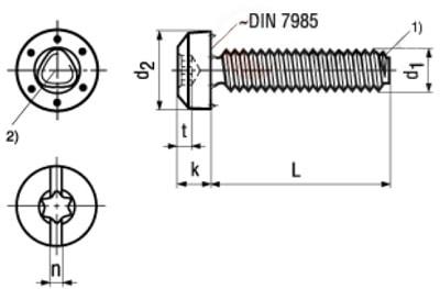 Винт резьбовыдавливающий, цилиндрическая скруглённая головка со стопорными выступами, шлиц Torx комбинированный