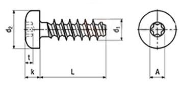 Саморез по термопластам с цилиндрической скругленной головкой, шлиц TORX