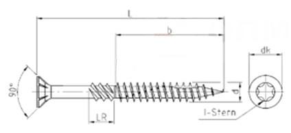 Саморез конструкционный для дерева с потайной головкой и зенкующими ребрами, щлиц Torx