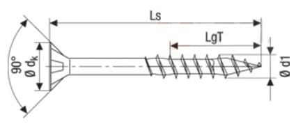 Саморез Spax конструкционный для дерева, с потайной головкой и зенкующими ребрами, щлиц Torx неполная резьба