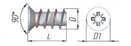 Евровинт с потайной головкой, шлиц Pz и однозаходной крупной резьбой