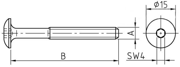 Винт мебельный декоративный с полукруглой низкой головкой и внутренним шестигранником