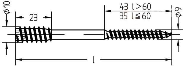Шуруп регулировочный для установки дверных коробок, с внутренним шестигранником