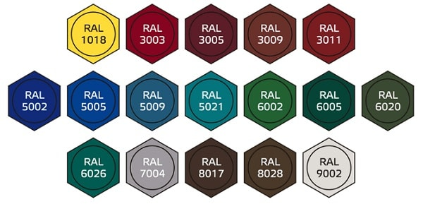 Возможные цвета RAL для кровельного самореза