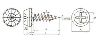 Саморез с полуцилиндрической головкой для крепления листового металла к металлическим профилям, острый конец, шлиц Ph